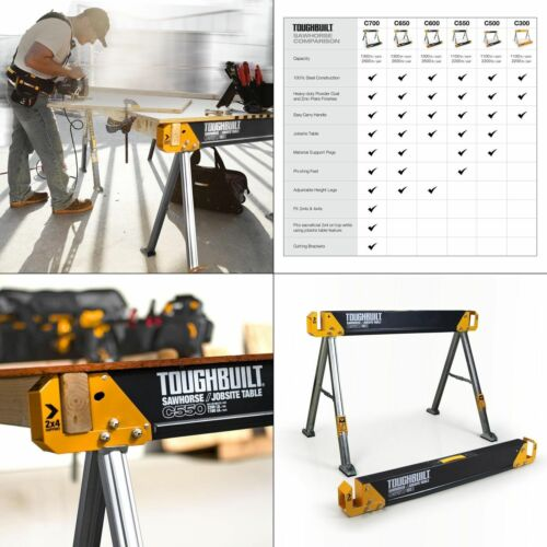 Toughbuilt Steel Sawhorse And Jobsite Table Adjustable Folding Saw Horse Tb-c550