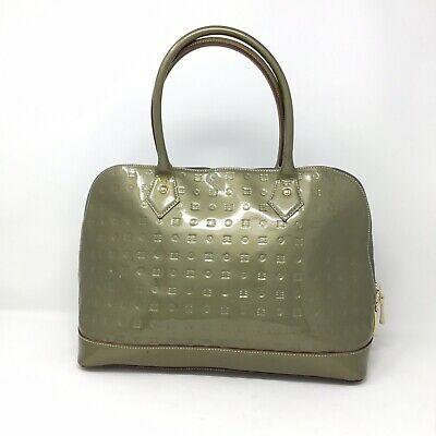 Arcadia Green Olive Patent Leather Handbag Satchel Tote Made in Italy