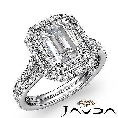 Double Halo Pave Split Shank Emerald Diamond Engagement Ring GIA H VS2 2.6 Ct