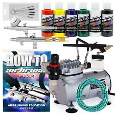 Airbrush Kit with 3 Airbrushes - 6 Colors - Hobby - T-Shirt
