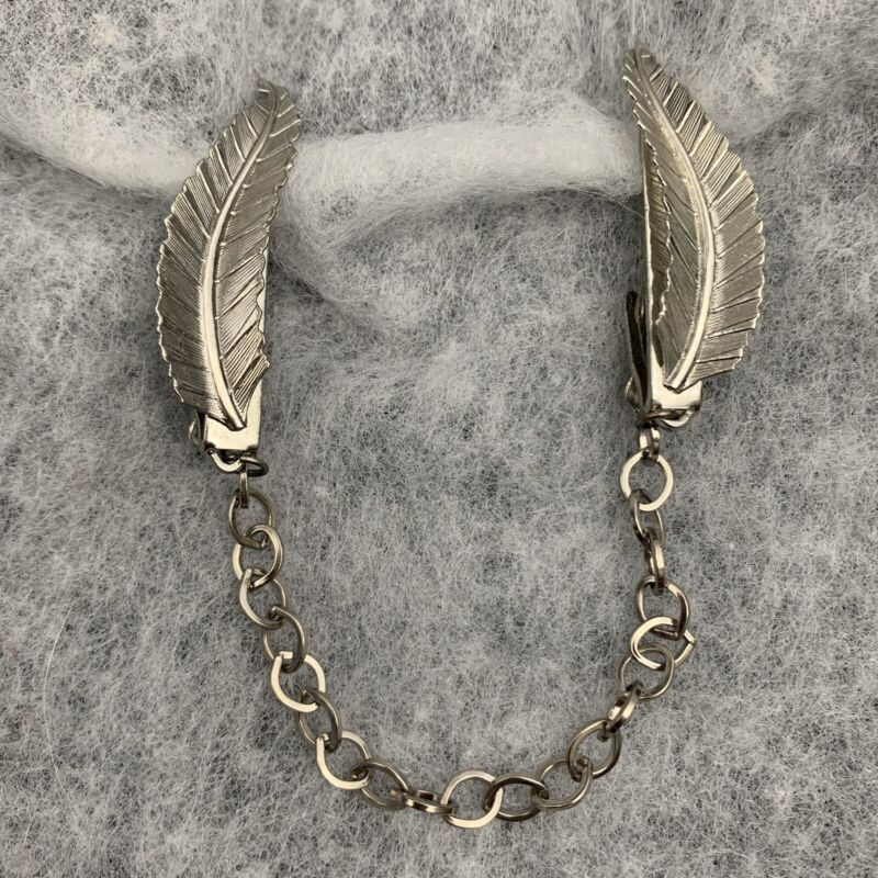 Feather Leaf Sweater Clip Guard Silver Tone Classic Vintage Pinup