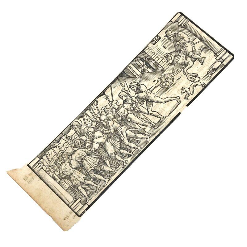 RARE Ca. 1500 Woodcut Print Munsters Cosmographia German Wood Block Incunabula A