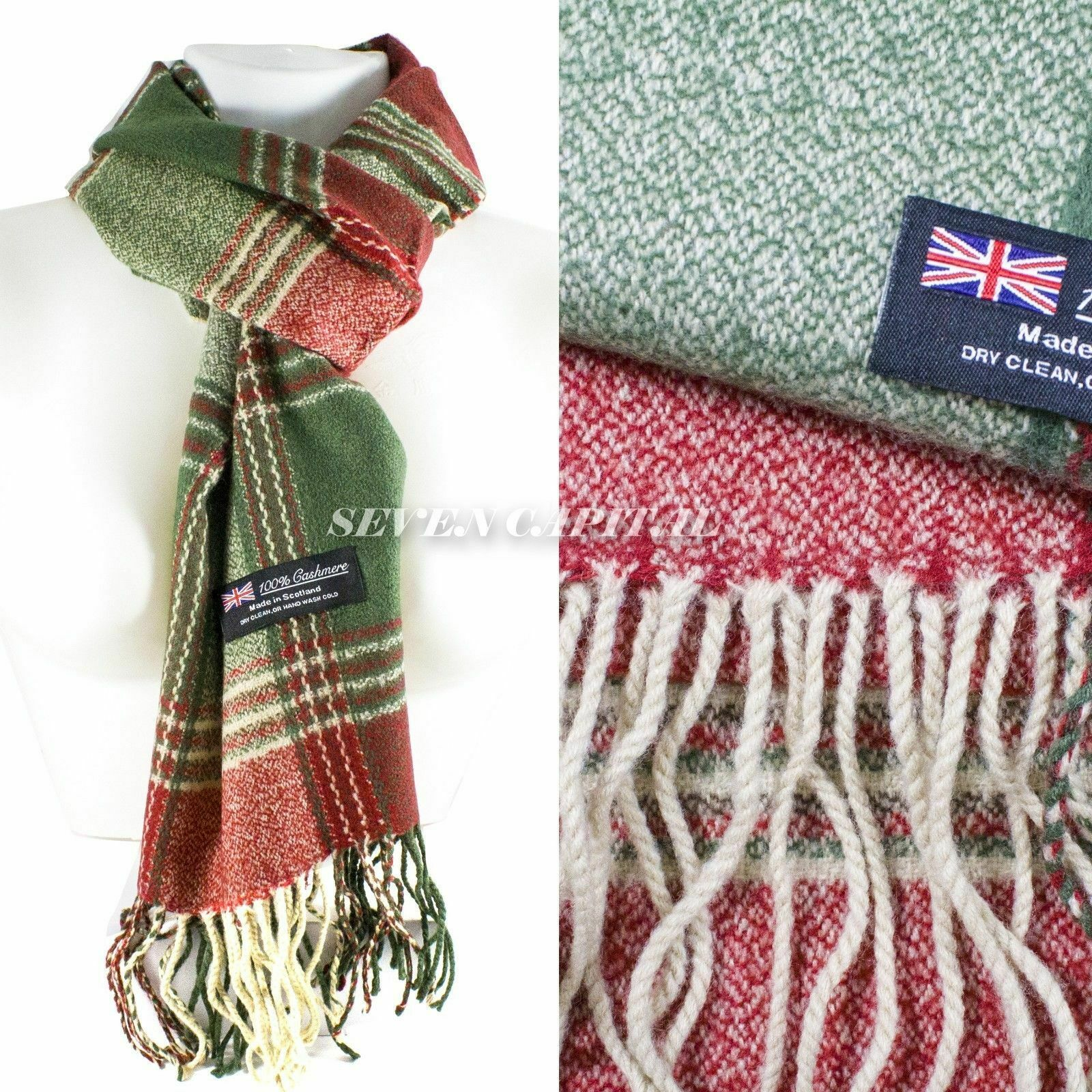 Mens Womens Winter Warm SCOTLAND Made 100% CASHMERE Scarf Scarves Plaid Wool 54. Multiple: Green/Red