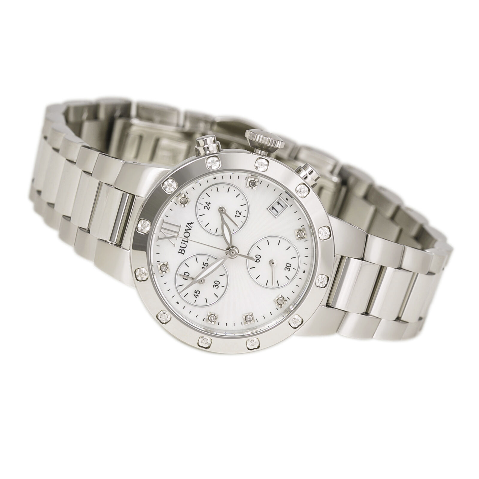 Bulova women 39 s 96r202 diamond chronograph quartz mother of pearl dial watch 7752878451363 ebay for Mother of pearl dial watch