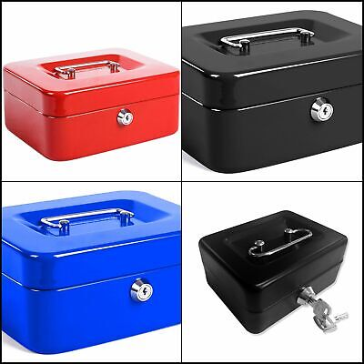 Cash Box Locking Steel Money Tray Lock Box Safe Portable Compact Security Key