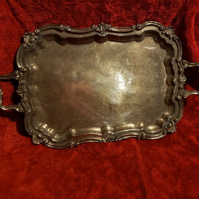 Fabulous Vintage Leonard Rectangular Tray Silver Plated With Handles And Legs