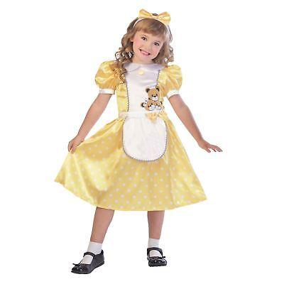 Kids Girls Goldilocks Storybook Costume Gold Fancy Dress Book Week  - Girls Goldilocks Costume