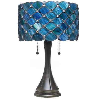 Tiffany Style Bue Jeweled Table Lamp 16