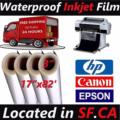 4 Rolls17x 82waterproof Transparency Inkjet Film Epson T3270 7800 Printer