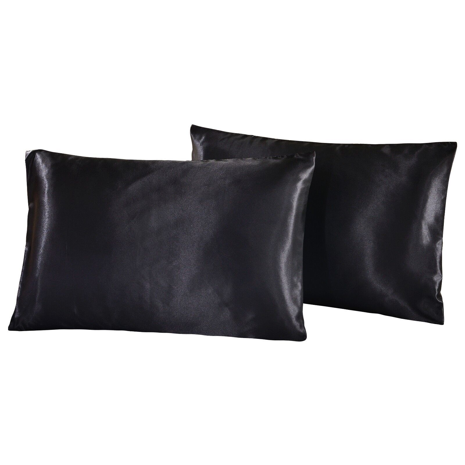 Satin Silky Pack of 2 Pillowcases Pillow Protectors Bed Stan