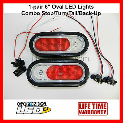 "(2) 6"" Oval LED Combination Stop/Turn/Tail/Back-Up Lights Submersible Optronics"
