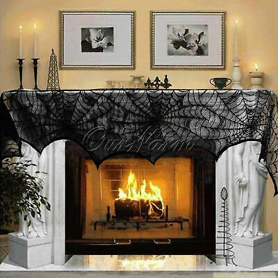 Halloween Cobweb Fireplace Scarf Lace Spiderweb Mantle Cover Cloth Party - Halloween Fireplace