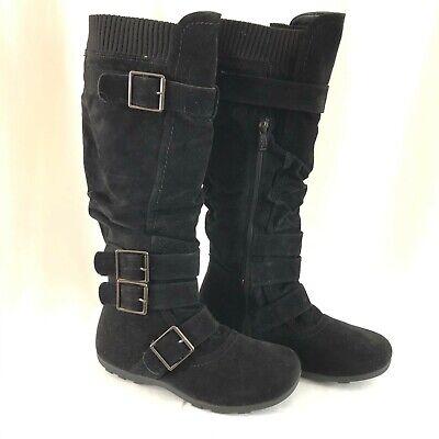 Anna Womens Combat Boots Faux Suede Buckles Zipper Black Size 8.5