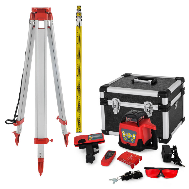 Rotary Laser Level 500m Range Automatic Self-Leveling Red Beam w/Tripod Staff