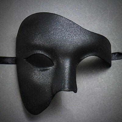 Plain Black Vintage Phantom Masquerade Mask Half Face Venetian Halloween Costume - Black Face Mask Costume