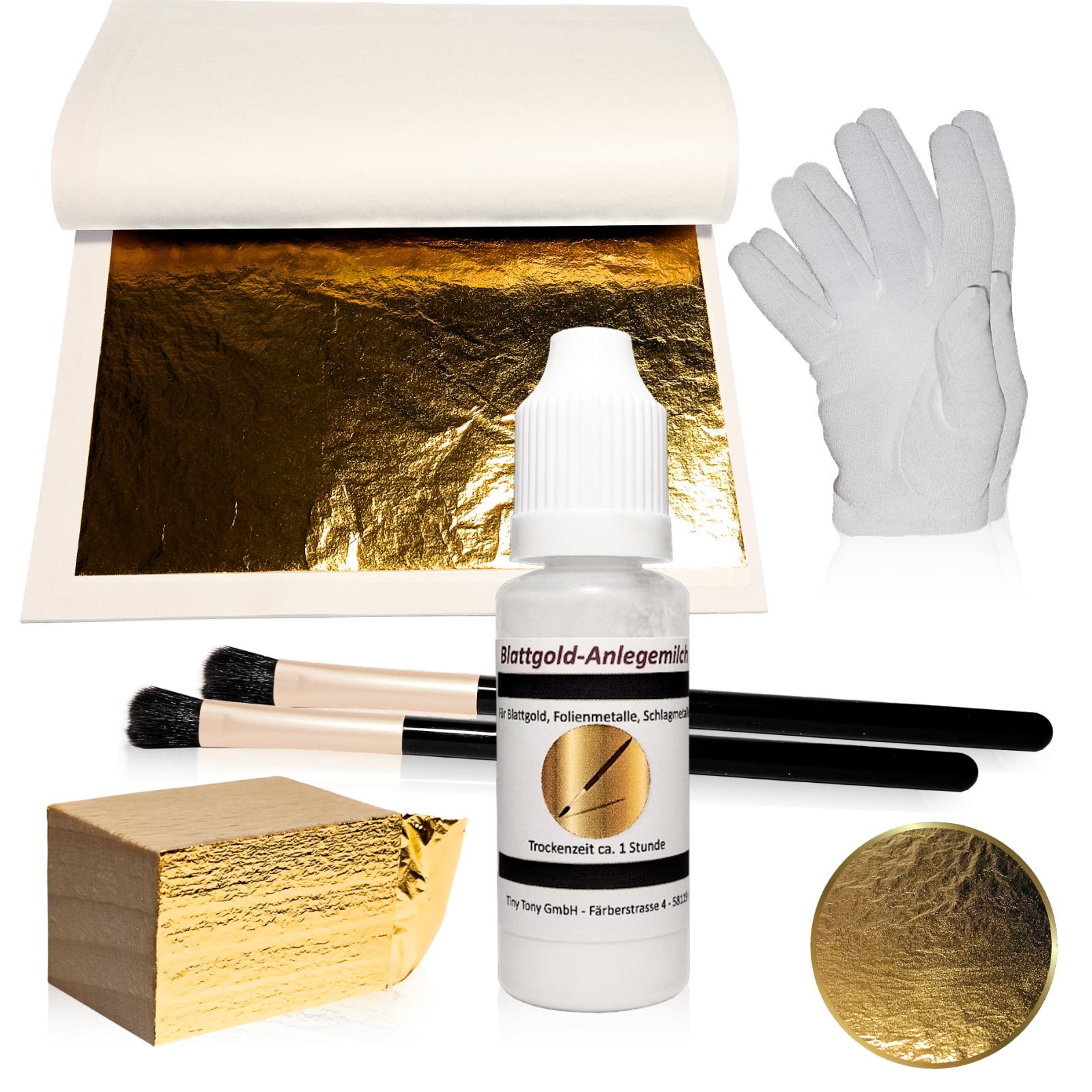 Blattgold SET Goldfolie 14cm Pinsel Anlegemilch Handschuhe Komplett Starter-Set