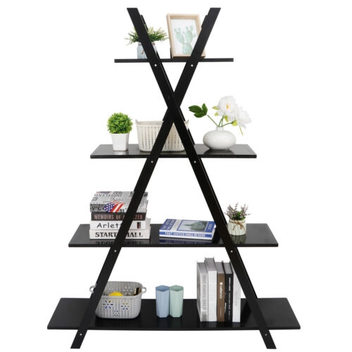 4 Tier Bookshelf Black Wood Ladder Plant Display Oxford A Frame Furniture Bookcases & Shelving
