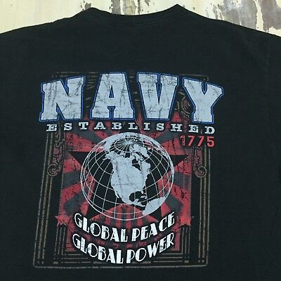 Us Navy   Global Peace Global Power  Vtg 90S Black Cotton T Shirt  Fits Mens Xl