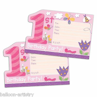 8 Pink Happy 1st Special Girl Birthday Party Invitations Invites plus Envelopes