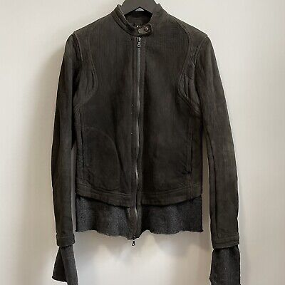 Isaac Sellam Experience Lambskin Suede Jacket Zip Up Cashmere Wool Lining 38