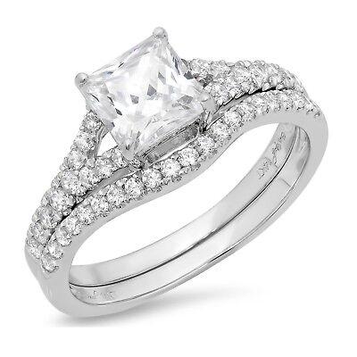 1.91ct Princess Cut Bridal Engagement Wedding Ring Band S...