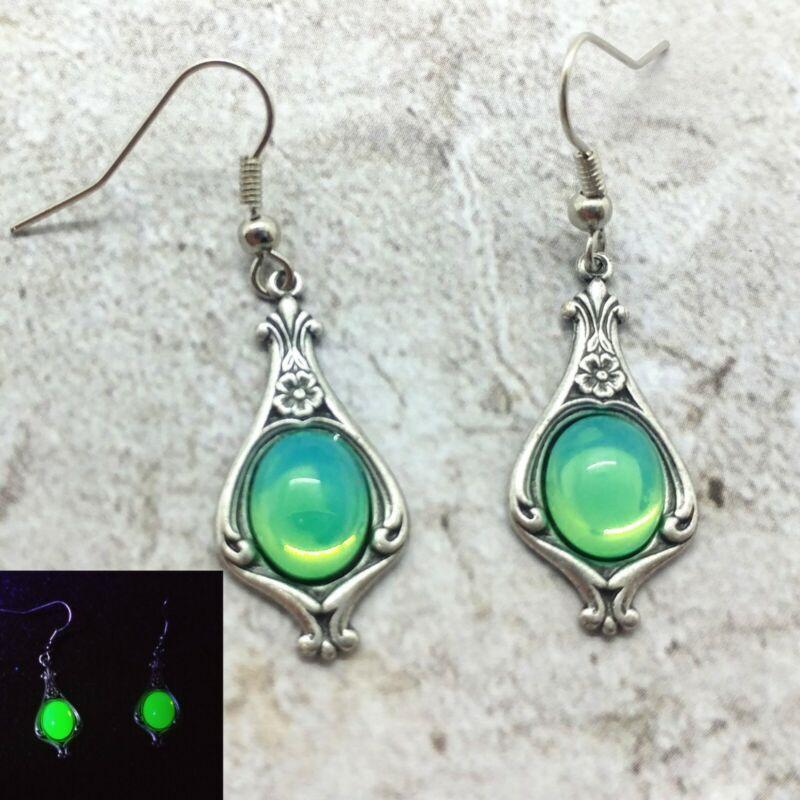 "Art Nouveau Uranium Glass ""Mermaid Stone"" Earrings"