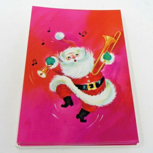 "Vtg Gibson Christmas Cards Santa  Pink 10 cards & envelopes ""Christmas Jewels"""