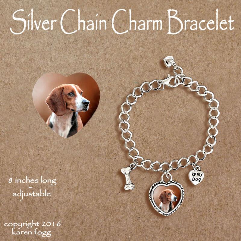 BEAGLE DOG - CHARM BRACELET SILVER CHAIN & HEART