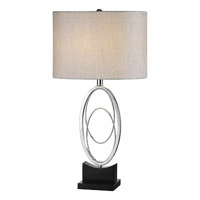 Silver Oval Rings Modern Table Lamp | Black Polished Elegant Open Mid Century