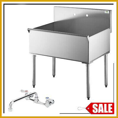 Freestanding Utility Sink Laundry Single Mount Commercial 36x24x14 Bowl W Faucet