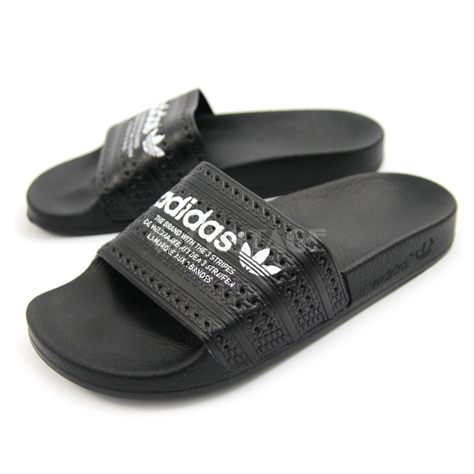 e92feb9c04f7 Adidas Originals Mens Unisex Adilette Black White Trefoil Sandal Slides  S78689