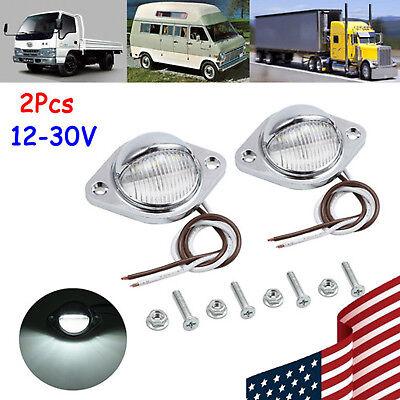 3 Chrome Plated Wire - 2x 3 LED License Plate Light Chrome 12V/24V 0.5W 2 wire For Car Truck Trailer