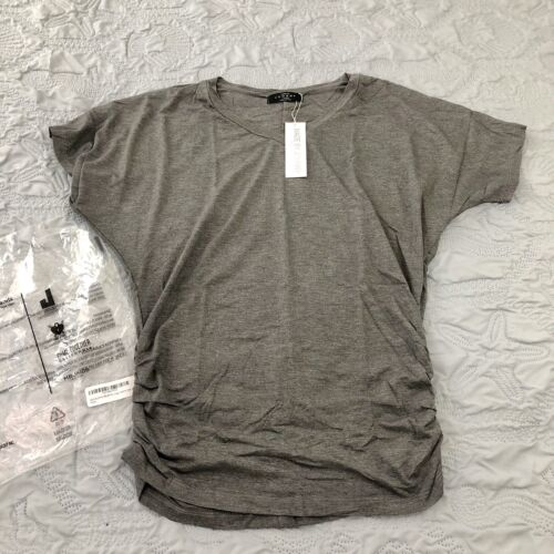 NWT Made by Johnny Ladies V-Neck Stretch Tunic Top Shirt Gra