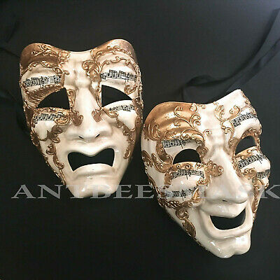 Venetian Masquerade Comedy Tragedy Drama Renaissance Gold Masks - Comedy Tragedy Masks