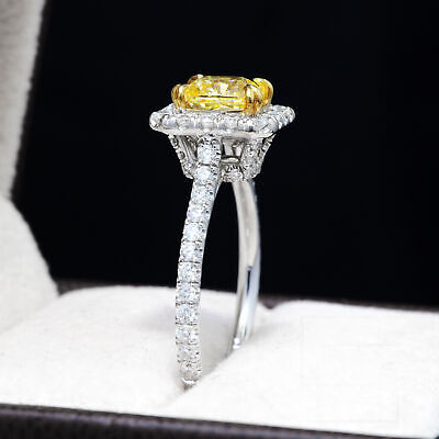 1.40 Ct. Fancy Yellow Radiant Cut Diamond Engagement Ring GIA VS2 18k NATURAL 1