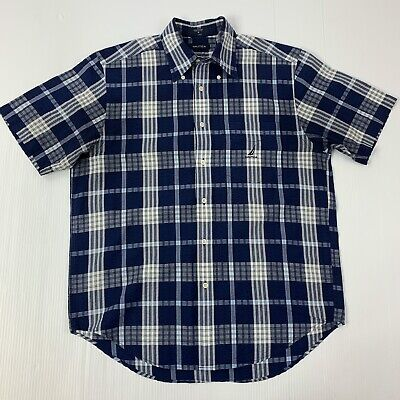 Nautica Mens Medium Blue & White Seersucker Short Sleeve Button Front