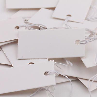 100pcs White Blank Paper Jewelry Label Price Tags With Elastic String 40x20mm