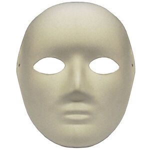 OMYGOD PLAIN WHITE FULL FACE PAPER MACHE MASK TO DECORATE YO