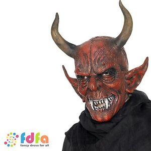RED DEVIL DEMON FULL HEAD LATEX MASK + HORNS HALLOWEEN mens fancy dress costume
