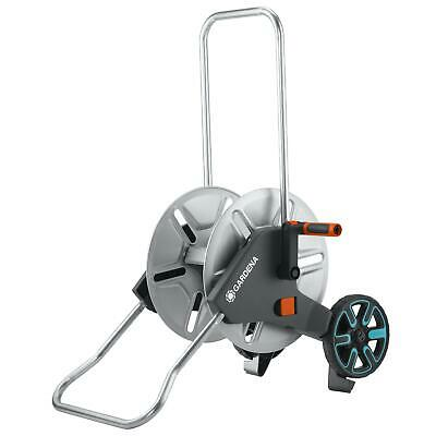 Gardena AquaRoll M Metal Hose Trolley Cart - Kick Stand, Foldable Plastic Handle