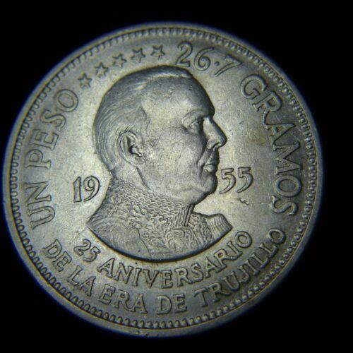 1955 DOMINICAN REPUBLIC SILVER TRUJILLO ONE PESO 25th ANNIVERSARY - AU