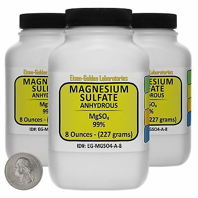 Magnesium Sulfate Anhydrous Mgso4 99 Acs Grade Powder 1.5 Lb In Three Bottles