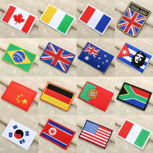16 Sizes Fabric Flag Patch Sew Ironing on Jeans Bag Jacket Pattern Cloth Patches