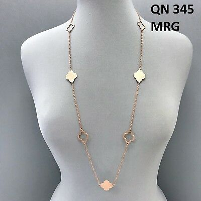 Matte Rose Gold Finished Long Cut out Open Closed Multi Clover Design Necklace Cut Out Rose Pendant
