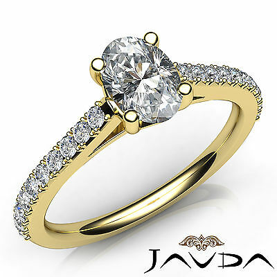 Classic French Set Pave Sidestone Oval Diamond Engagement Ring GIA D SI1 0.80Ct