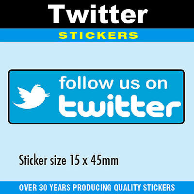 Follow Us On Twitter Stickers 15 X 45mm - Professionally Printed - 4 Pack Sizes