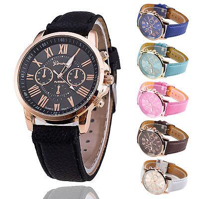 (Ladies Women Mens Girls Analog Quartz Wrist Watches Trendy Leather Strap)