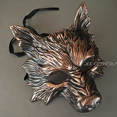 Halloween Black Copper Wolf Horror Costume Party Mask