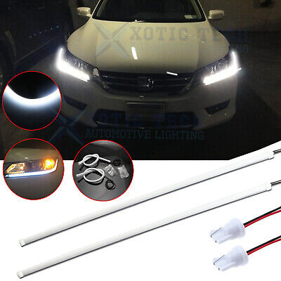 White Illuminating LED DRL Strip Headlight Retrofit For Honda Accord Sedan 13-15