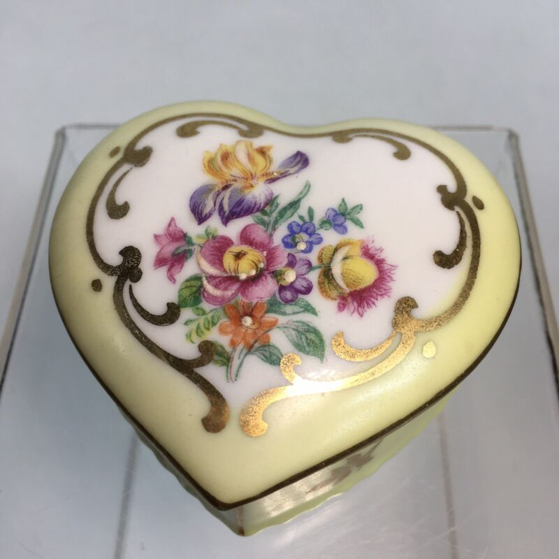 Vintage Elfinware Heart Shaped Trinket Box Germany Yellow Floral Romantic